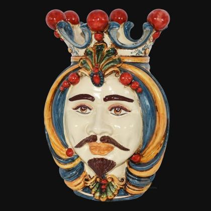 Testa h 38 in blu, arancio e rosso maschio bianco - Ceramiche Di Caltagirone Sofia