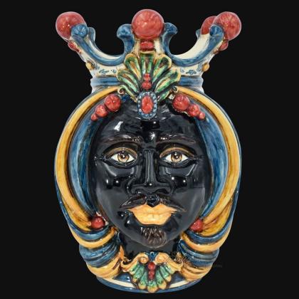 Testa h 38 in blu, arancio e rosso maschio moro - Ceramiche Di Caltagirone Sofia