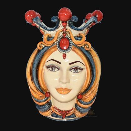 Testa h 38 in blu, arancio e rosso femmina - Ceramiche Di Caltagirone Sofia