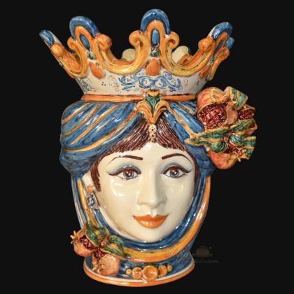 Ceramic Head with pomegranate h 40 blu/orange female