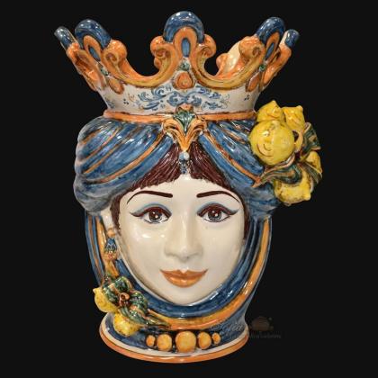Ceramic Head with lemons h 40 blu/orange female