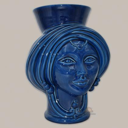 Testa h 30 Blu Integrale Donna corona liscia - Teste di moro moderne Sofia Ceramiche