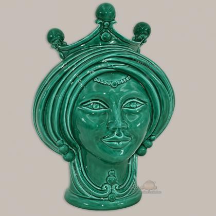 Testa h 30 Verde Integrale Donna - Teste di moro moderne Sofia Ceramiche