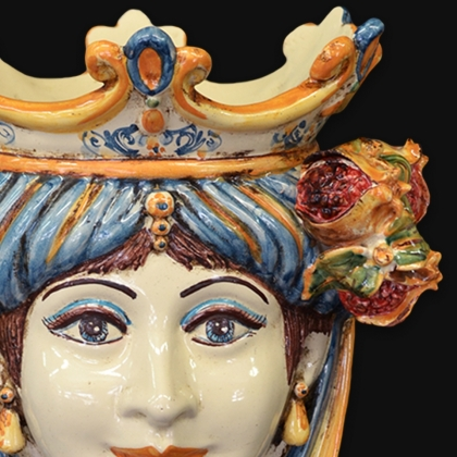 Ceramic Head with pomegranate h 25 blu/orange female