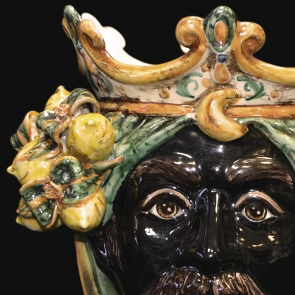 Ceramic Head with lemons h 25 green/orange male