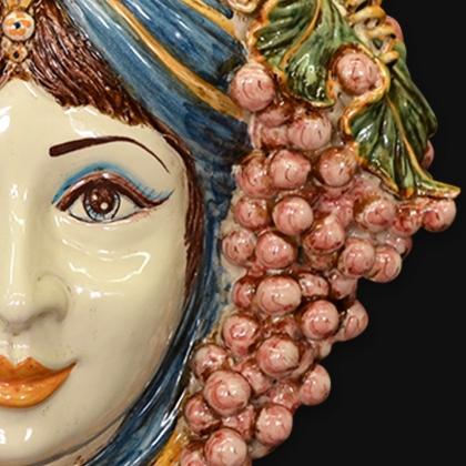 Ceramic Head with grapes h 40 blue/orange female