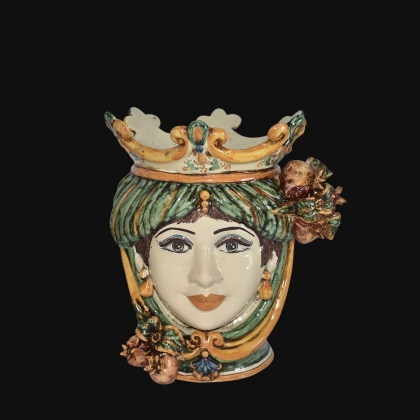 Ceramic Head with pomegranate h 25 green/orange female