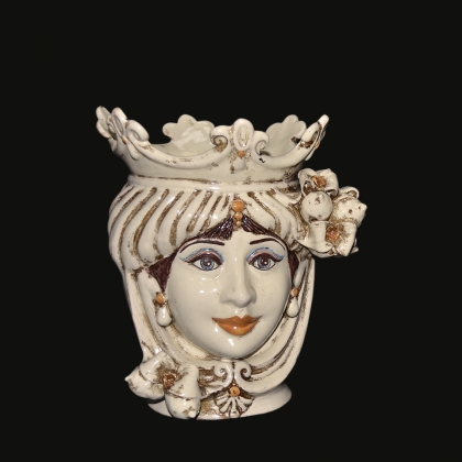 Ceramic Head with lemons h 25 ivory line female