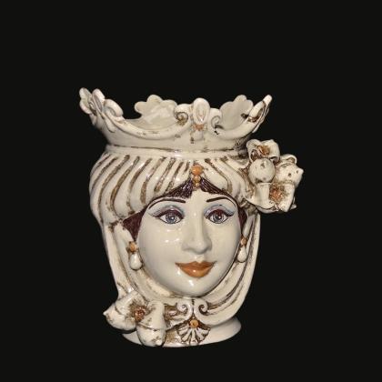Ceramic Head with lemons h 25 ivory line female