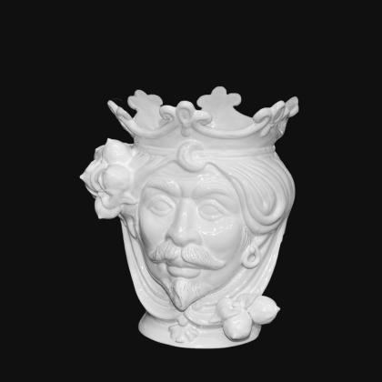 Ceramic Head with lemons h 25 white line male - Modern Moorish heads Sofia Ceramiche